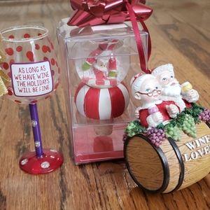 Christmas wine bottle topped & ornament